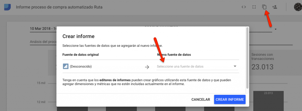 copiar informe google data studio