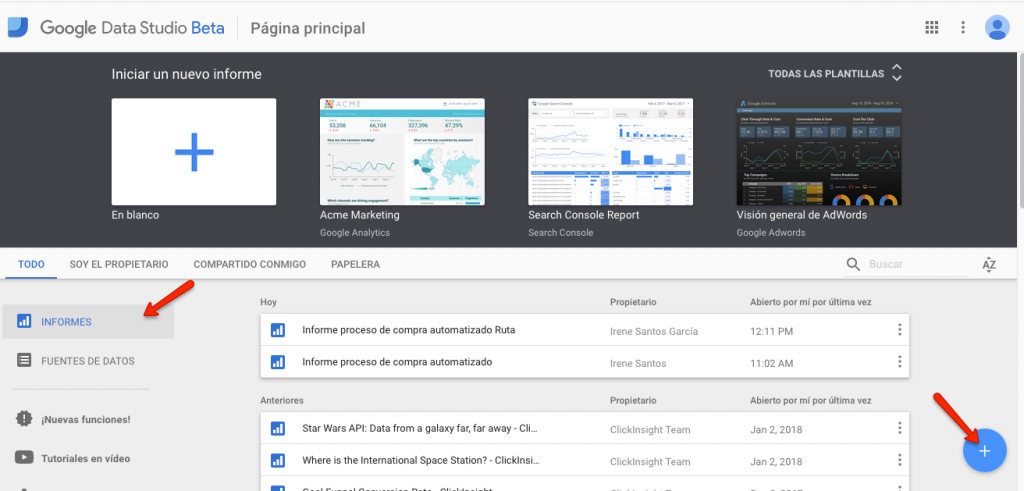 crear informe google data studio
